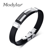 Modyle Fashion Stainless Steel Bracelets Bangles Wholesale Silicone&Rubber Bracelet Men Jewelry