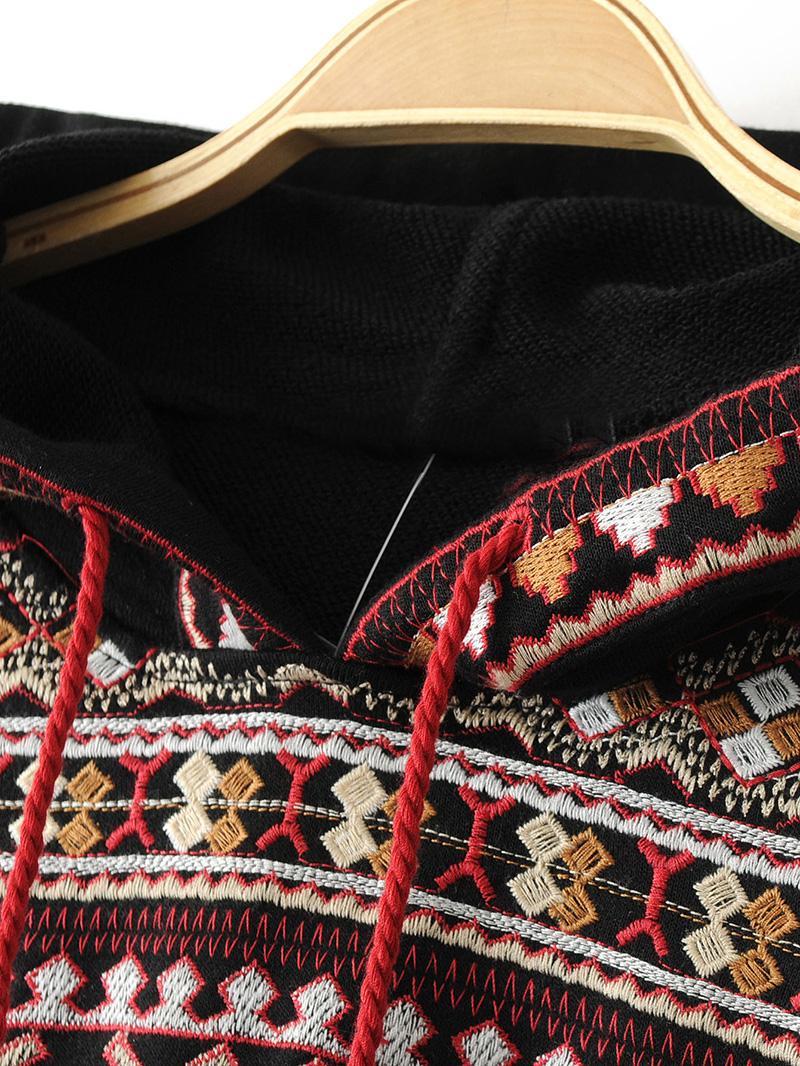 ShejoinSheenjoy Hooded Long Sleeve Loose Hoodies Women Fashion Black Vintage Floral Geometric Embroidery Sweatshirt Pullovers (13)