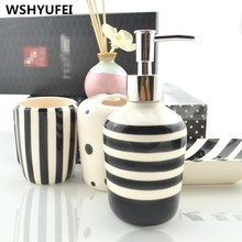 Bathroom accessories Ceramic bathroom sets (4pcs) 1 emulsion bottle +1 soap dish +1 cup + 1 toothbrush holder Beautiful gift