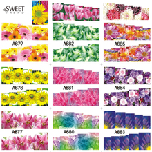 1Sheet Chrysanthemum Nail Art Water Transfer Stickers Yellow Nail Tips Decals Watermark Full Wraps Manicure Decoration A877-888