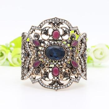 Big Adjustable Size Hollow Flower Vintage Bangle Turkish Resin Cuff Five Button Broadside Bracelet Antique Gold Color Jewelry