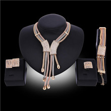 New Fashion Costume Jewellery Women Big Necklace Bracelet Rings Earrings Set Dubai Gold Platin Jewelry Sets
