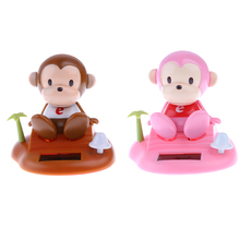 1pcs Random Color Solar Powered Monkey Dancing Flip Flap Bobble Head Toy Desk Car Ornaments Home Decoration Children Toys Gift