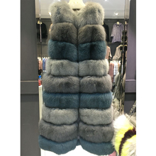 Real Natural Fur Vest Women's Winter Genuine Fox Fur Leather Jacket Long Overcoat Girl Ladies Multi Color Real Fox Fur Vest Coat(China)