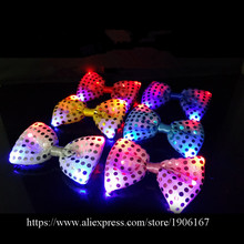 Fashion Led Luminous Bow Tie LED Holiday Light Up Flashing Sequin Adjustable Tied Christmas Masquerade Party Tie Gift