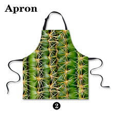 New 3D Printing Apron Green Cactus Printing Cotton Sleeveless Antifouling Halter Neck Apron Restaur Kitchen - P030