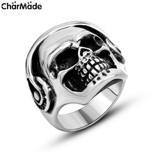 Black Oxidized Wear Headphone Biker Skull Mens Ring Polished Finish Stainless Steel Cool Accessory Size 7-12 CharMade R440