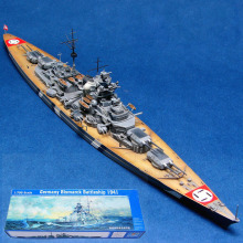 Assembled 1/700 German Warship Bismarck Battleship Model Free Shipping