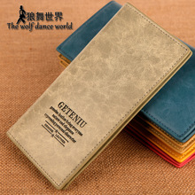 Professional male genuine leather medium-long cowhide wallet casual card holder purse(China)