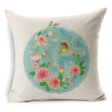 Pastoral Style Cushion Cover Flower Bird Lotus Butterfly Printed Decorative Pillow Covers For Couch Housse De Coussin BZT-80(China)