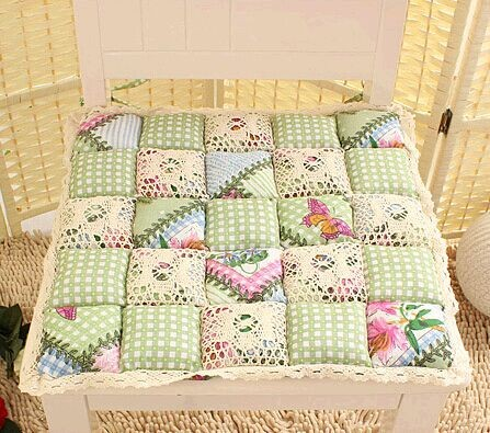 100 Cotton Quilted Chair Dining Cushion Pad Office Checked Quilting 40cm X
