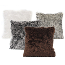 Soft Plush Rabbit Fur Cushion Cover Home Decor Faux Fur Fleece 45*45cm Square Decorative Throw Pillow Cover for 2016 Christmas