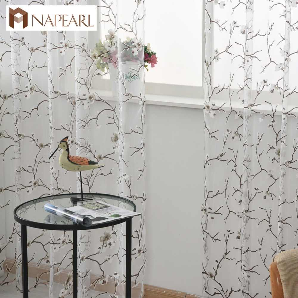 Floral tulle curtains organza sheer fabrics for window treatment transparent curtain panel ready made hook rod pocket grommet