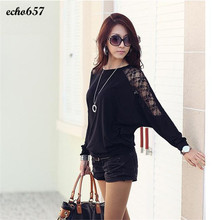 Hot Sale Echo657 New Fashion 1PC Womens Long Sleeve Casual Dolman Lace Loose T-Shirt Batwing Tops Nov 17(China)