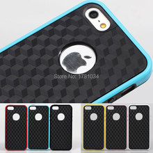 HOT Selling frosted 3D vision cuboid box grid blackground Soft TPU back cover protector shell Case for iPhone 5 5G 5S