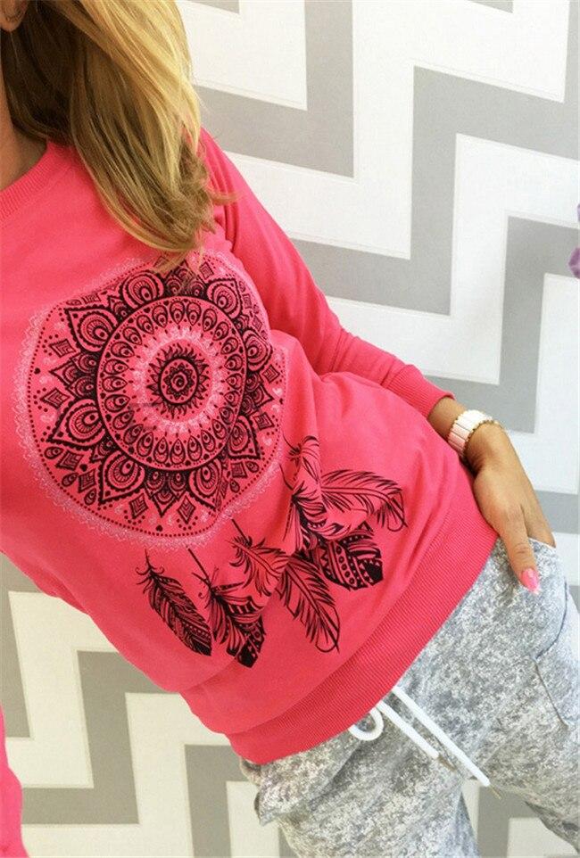 Women autumn capless sweatshirts full sleeve female pink hoody Dreamcatcher printing funny plus size hoodies camiseta pullovers 3