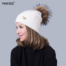 Apparel Accessories Winter Red Removable Fox Bobble Hat For Women Warm Knitted Beanies With Fur Pom Poms.Wool Fur hat(China)