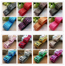 Free shipping 1'' (25mm) Leopard Zebra animal pattern printed ribbon Polyester Grosgrain Ribbon DIY hairbow clothing accessories(China)