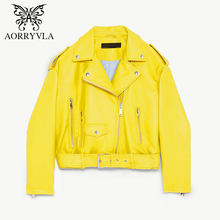 AORRYVLA PU Leather Jacket Women Spring Autumn 2019 Yellow Color Belt Zippers Short Length Turn-Down Collar Casual Basic Jacket(China)