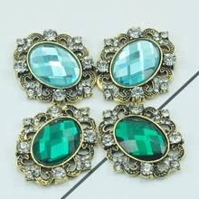 2.8*3.2cm DIY Embelishment Flat Back Buttons Green And Light Blue CrystaL Buttons 20pcs/lot