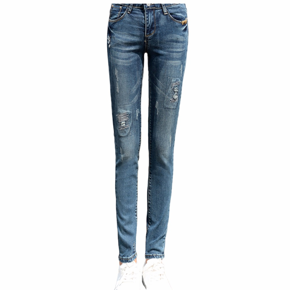 2017 Spring New Vintage STRETCH JEANS Pencil Ripped Skinny Jeans Woman Fashion Slim Blue Mid Waist Womens Slim Denim PantsОдежда и ак�е��уары<br><br><br>Aliexpress