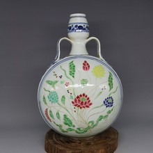 Ming Dynasty Blue and white outline in gold lotus Ribbon flat bottle hand-work crafts home decoration  collection