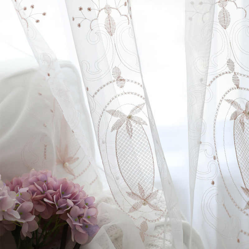 Romantic Pink Embroidered Pearl Lace Tulle Curtains for Girls Bedroom Window Screening Handmade Beaded Sheer Voile Living Room