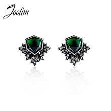 JOOLIM Jewelry Wholesale/ Simple Elegant Dark Green Glass Stud Earring Christmas Gift Free Shipping(China)