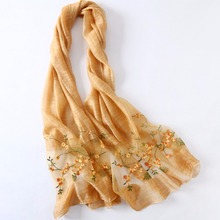 Newly Design Fashion Silk Cashmere Floral Embroidered Scarf Long Scarves Flower Beach Wrap Ladies Stole Shawl Support Drop Ship