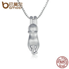 BAMOER Solid 925 Sterling Silver Lovely Cat Necklaces & Pendants Naughty Animal Necklace S925 Fine Jewelry SCN031(China)