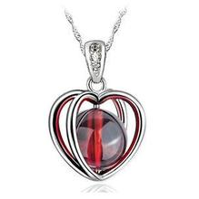 2016 New arrival red garnet gem fashion 925 sterling silver female jewelry pendant necklaces wholesale drop shipping women