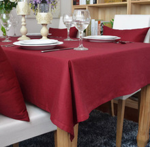 Christmas Table Cloth Polyester/Cotton Red Jacquard Table Cover For Wedding Hotel Party Tablecloth Rectangular/Round Table