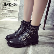2017 New Leather Rivets Booties Buckle Straps Thick Heel Black Ankle Boots Studded Decorated Motorcycle woman Boots A003(China)
