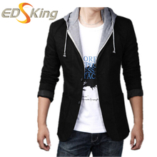 Men Blazers And A Jackets Hooded Chinese Suit Buttons Man Stage Wear Designs Blazer Tracksuits Male Thin Coat Brand Clothing(China)