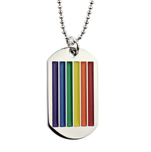 Rainbow Striped Stainless Steel Dog Tag Necklace with LGBT Design