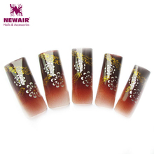 New Arrival 70pcs False Nail Art Tips Classic Flowers Pattern With Glitter French Airbrush Nail Tips Long Flase Nails Pre-design