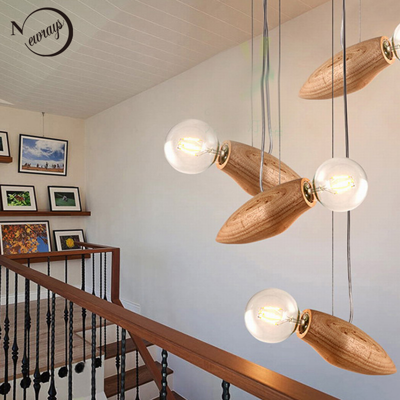 New design Modern Creative Cartoon Bee Lamp Balcony Small Wood loft Pendant Lamp cord Loft Hanging Light Bulb Stairs Decorated<br>