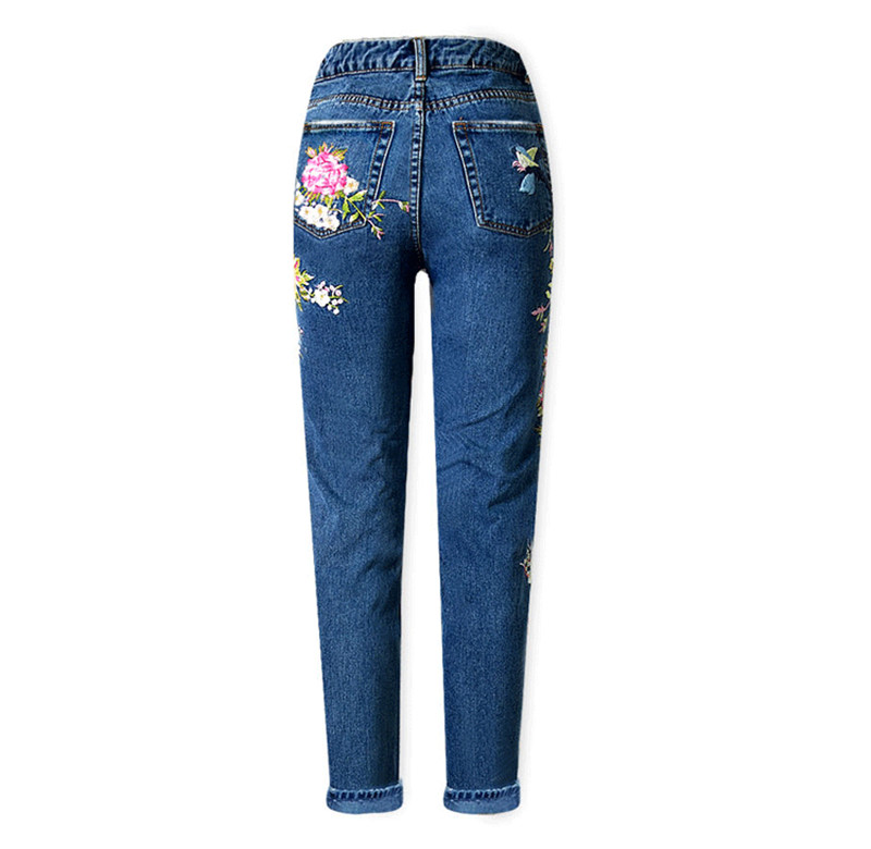 Women\'s three-dimensional 3D heavy process bird flower front and rear embroidery high waist Slim straight jeans large size system (11)