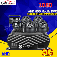 Software Free 8CH 3G GPS AHD HDD Mobile Dvr Remote Real Time Video 1080 Hard Disk Mdvr Recorder With 6Pcs HD AHD Car Camera Kits(China)