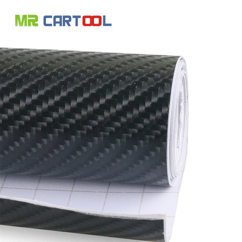 4D Waterproof Automotive Bubble Free Vinyl Wrap Carbon Fiber Vehicle Sticker Kit Exterior & Interior DIY Decoration, Black