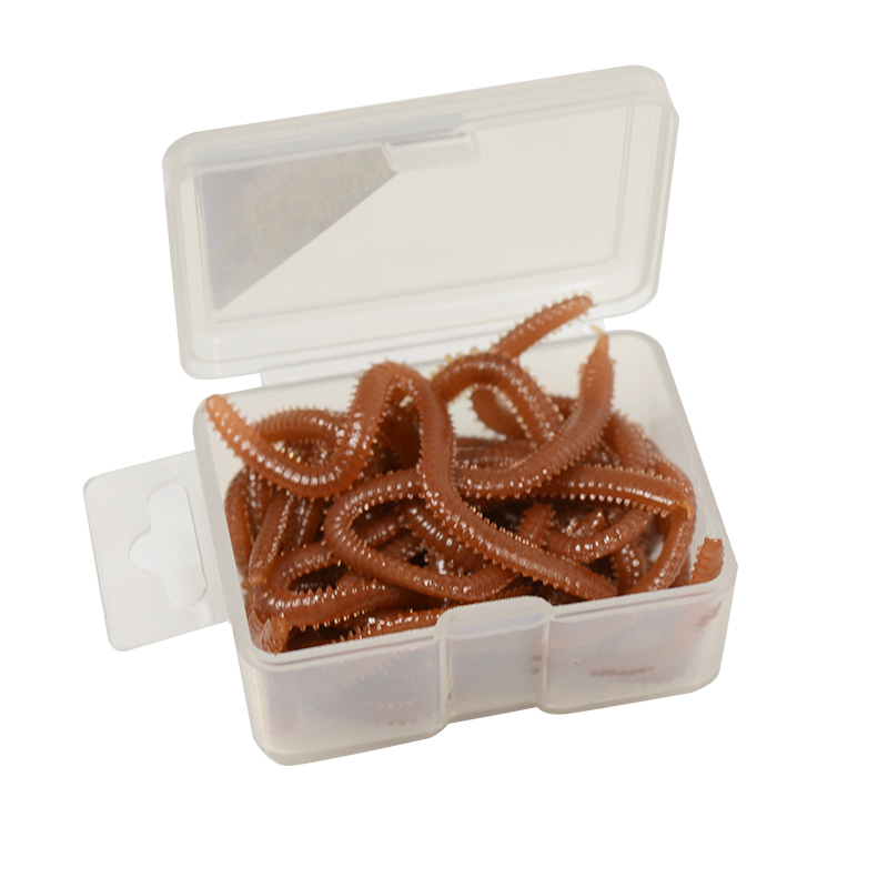 15pcsbox Simulation Earthworm Worms Artificial Fishing Lure Tackle Soft Bait Lifelike Fishy Smell Lures Red Fast Shipping (4)