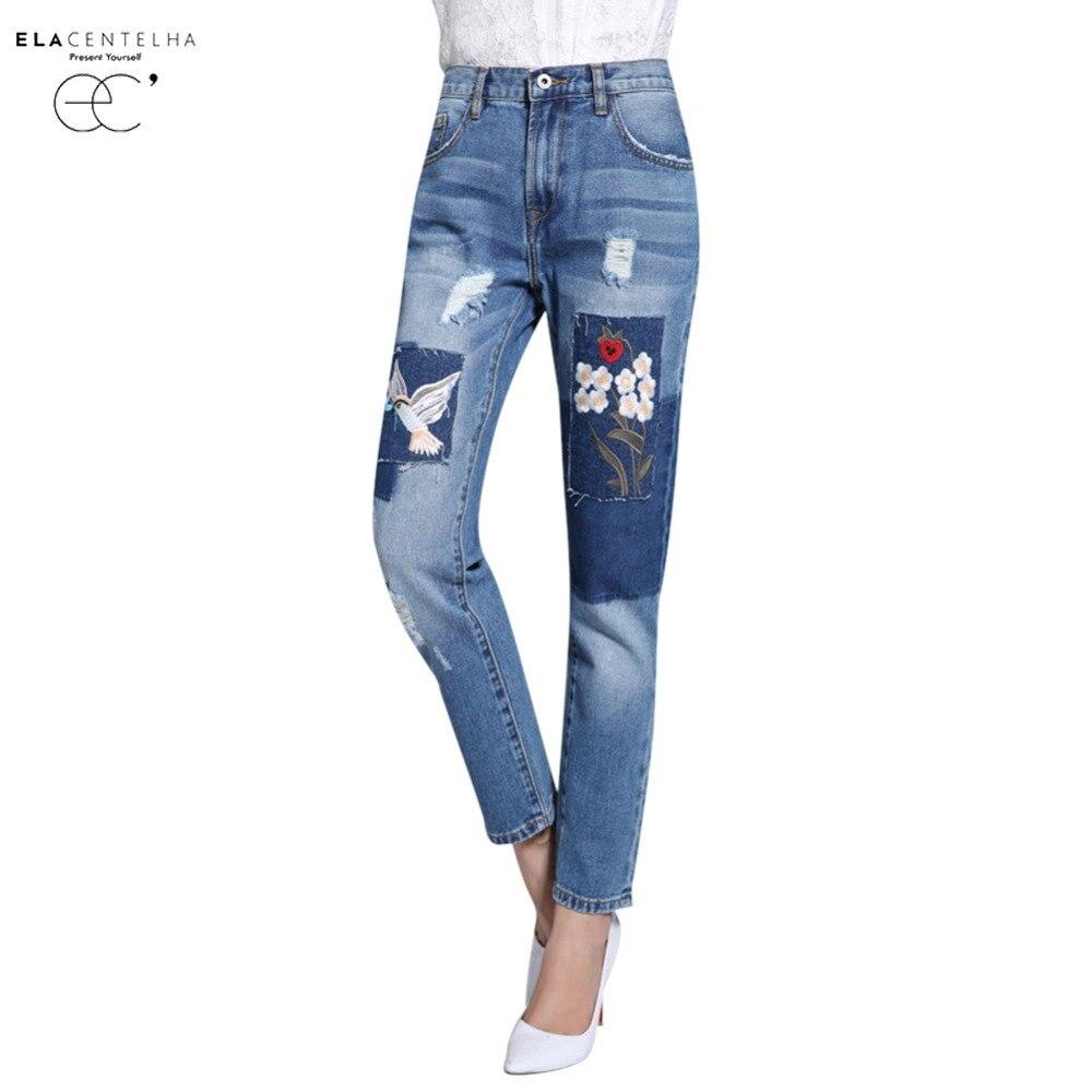 ElaCentelha Women Jeans High Waist Appliques Embroidery Casual Denim Pants Autumn Spring Ladies Slim Pencil Jeans Pants Одежда и ак�е��уары<br><br><br>Aliexpress