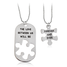 "Creative Design Engrave ""The love between us will be forever and even"" Necklace & Pendant 2pcs /set Best Gift Jewelry For Lovers(China)"