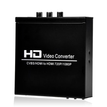 High quality Digital Full HD 1080P AV + HDMI TO HDMI Video Converter For STB DVD PS2 PS3 PSP with US EU Plug