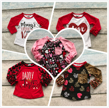 Valentine's Day baby girls red love leopard three quater cotton boutique cute top T-shirt reglans clothing arrow heart print(China)