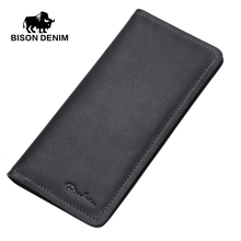 BISON DENIM Fashion casual style men's wallets genuine leather Thin soft black long wallet men clutch bags N4386-1(China)