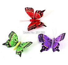 simulation feather butterfly refrigerator stickers book 24pcs/lots free shipping color random
