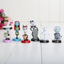 6pcs/Set The Nightmare Before Christmas Henry Selick Clay Animation Jack Sally Shock Zero Head Knock Bobble Head Figure Toys(China)