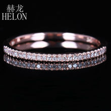 HELON Fashion Jewelry Solid 14K Rose Gold Pave 0.15ct Genuine Diamond Engagement Wedding Half Eternity Band Women's Fine Ring