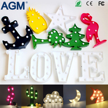 AGM Star Cactus Flamingo Moon LED Marquee Letter Light Up Table Lamp Decoration 3D Night Light Luminaria Nightlight For Children(China)